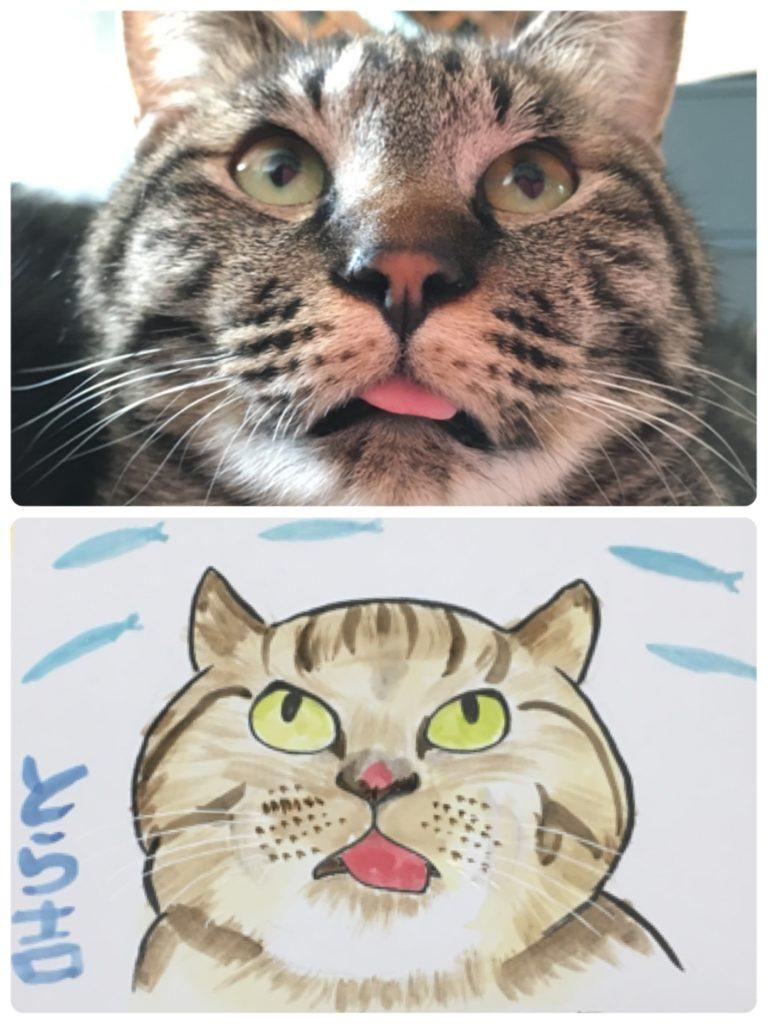 寅吉の変顔の似顔絵の写真